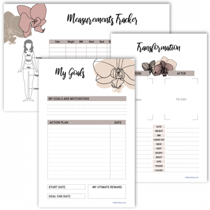Fitness Journal Measurements, Goals, Transformation