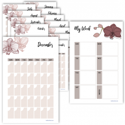 Fitness planner monthly calendar orchid design
