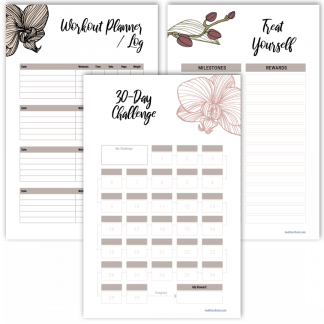 Fitness planner 30-day challenge orchid design