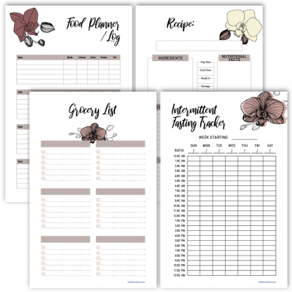 Fitness planner intermittent fasting tracker orchid design