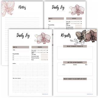 Fitness planner daily log orchid theme