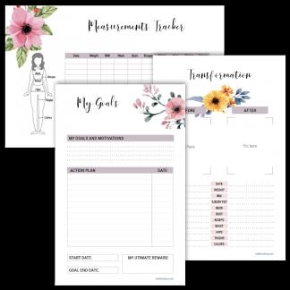 Fitness planner goal setting floral design