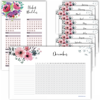 Fitness planner habit builder floral design