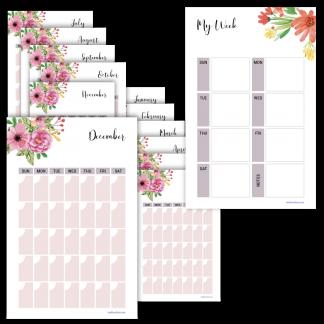 Fitness planner weekly planner floral design