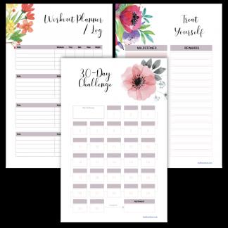 Fitness planner 30-day challenge floral design