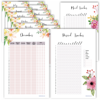 Fitness planner mood tracker floral design