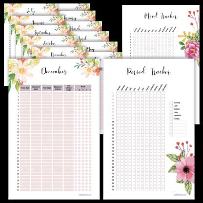 Fitness planner mood tracker floral design