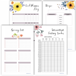 Fitness planner grocery list floral design