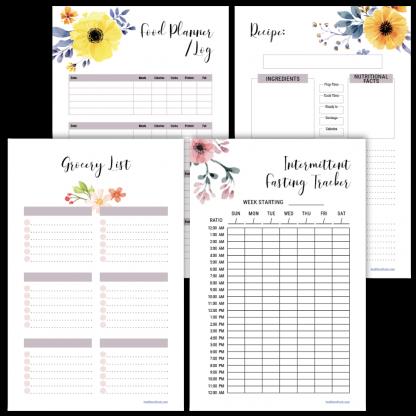 Fitness planner grocery list floral design