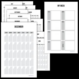 Fitness planner monthly calendar minimalist design