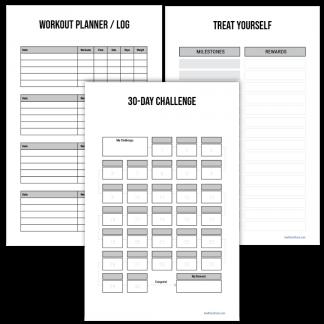 Fitness planner 30-day challenge minimalist design